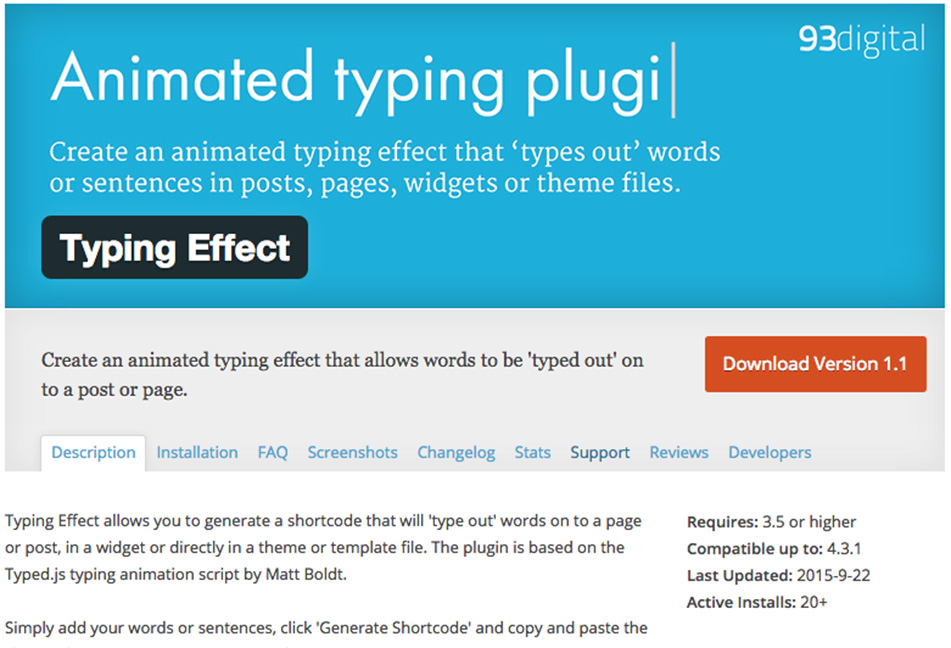 Animated typing effect plugin