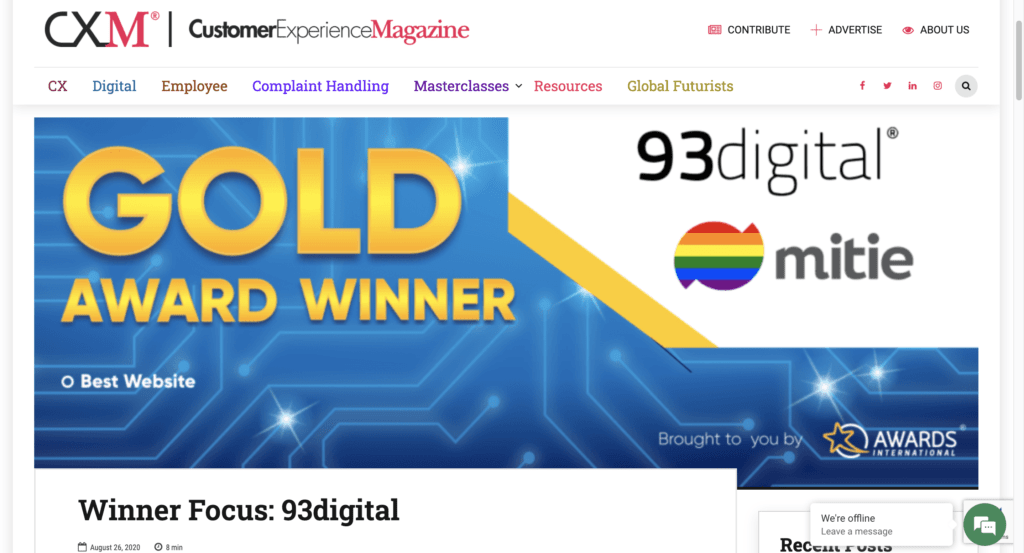 93digital for cxm magazine winners focus