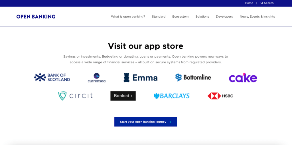 Open banking about us page