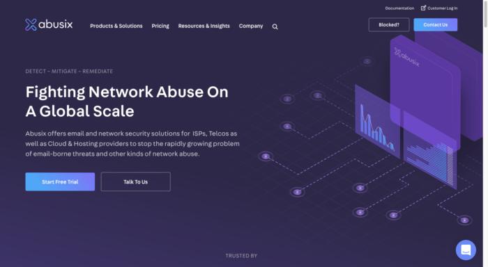 Abusix website homepage